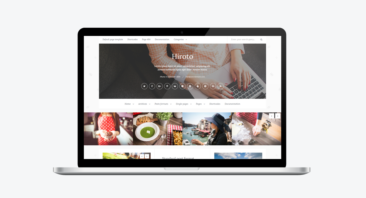 Hiroto - Responsive WordPress Blog Theme / Laptop