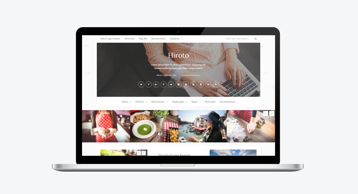 Hiroto - Responsive WordPress Blog Theme / Laptop