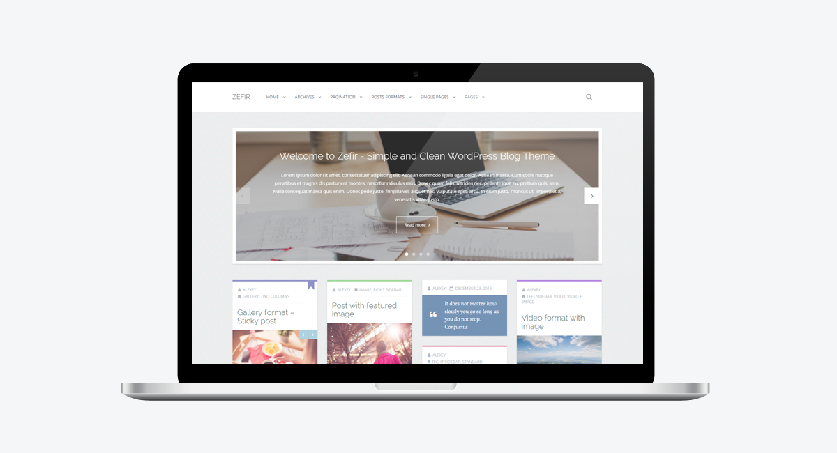 Zefir - Simple and Clean WordPress Blog Theme / Laptop