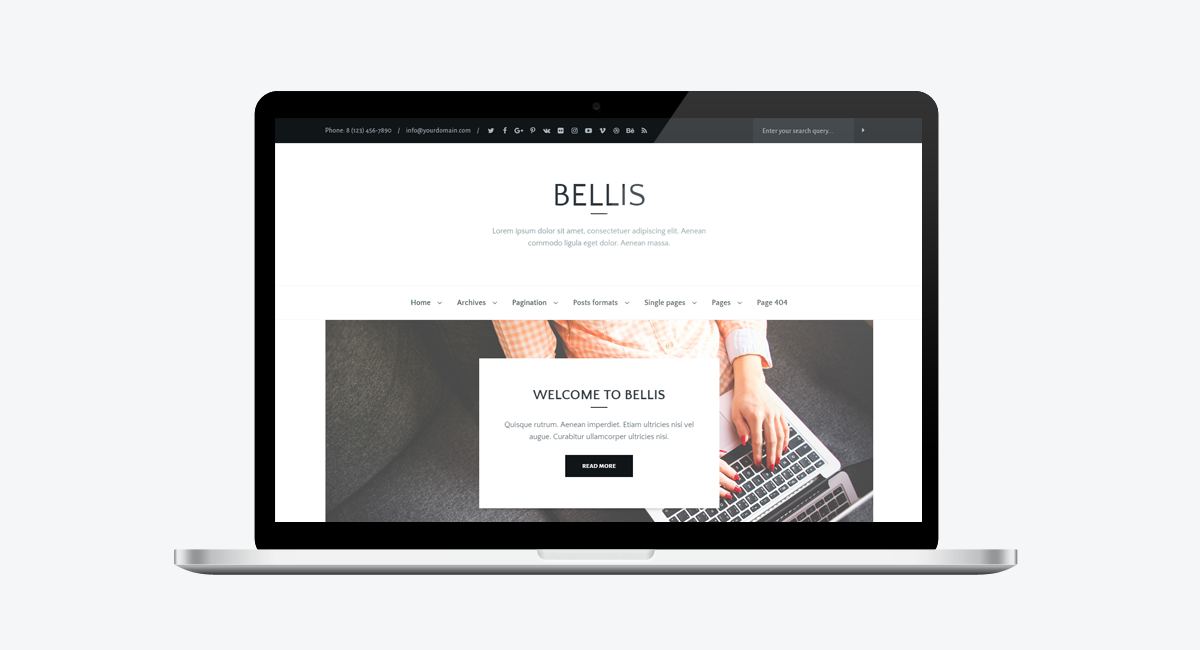Bellis - Simple and Clean WordPress Blog Theme / Laptop