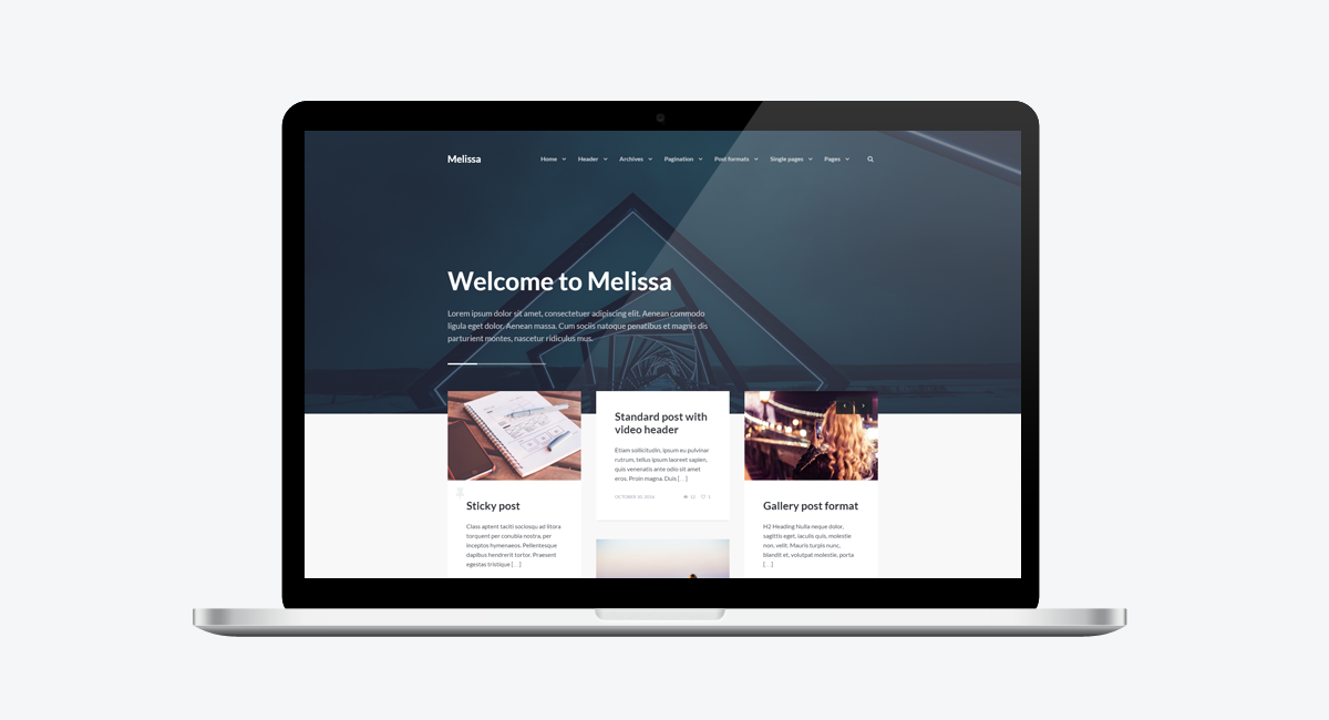Melissa - Personal Blog/Magazine WordPress Theme / Laptop