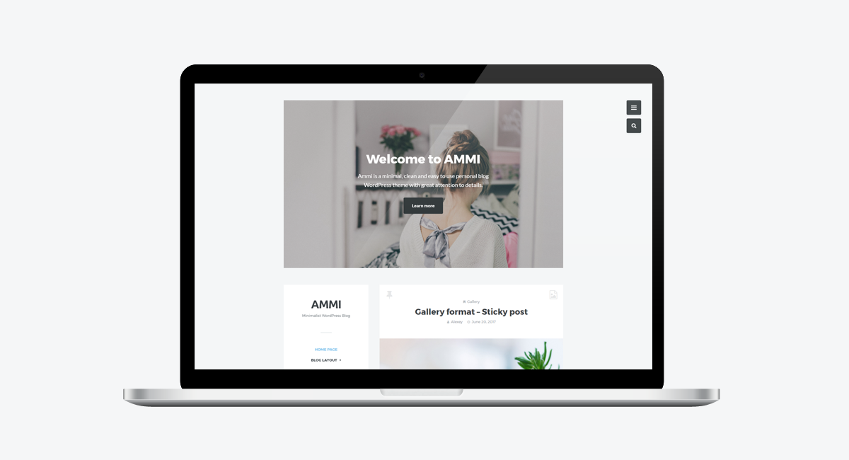Ammi - Minimalist WordPress Blog / Laptop